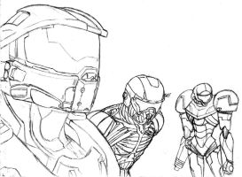 Master Chief, Nomad, and Samus by Amrock