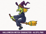 Free Halloween Witch Vector Character by pixaroma