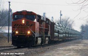 BNSF 7567 and BNSF 7396 lead Pipe Train by EternalFlame1891