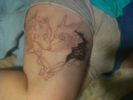 Wolf and Dragon +Tattoo in progress+ by Sabaene
