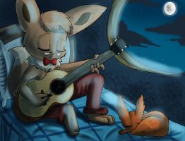 Boom practicing guitar by Bread-Crumbz