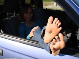 Taysia Car Window Toes Spread by prettyfeetandlegs