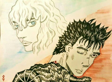 Berserk - Guts'Griffith by Draxdemon