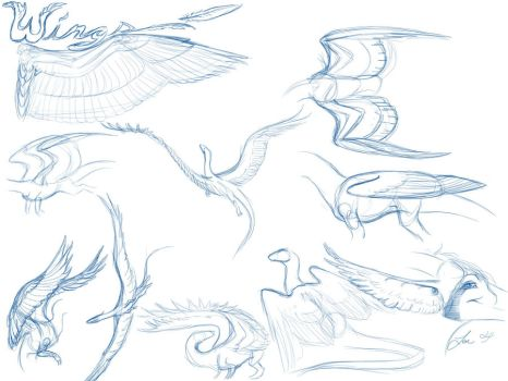 Dragon Feathered Wing Tutorial by NakaseArt