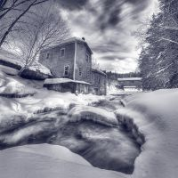 Decay and Covered Bridge 2 BW by IraMustyPhotography