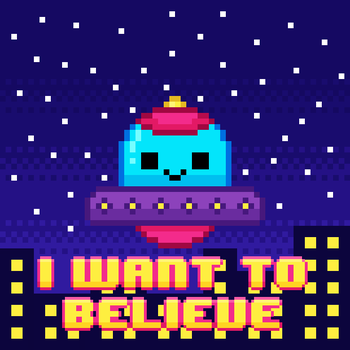 kawaii 8-bit ufo by to-much-a-thing