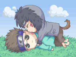 OH NOES SHINO GOT TACKLED D: by Kiwiggle