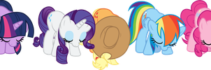 The Mane 5 Bowing by The-Queen-Of-Cookies