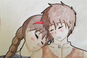Art Trade: Pazu and Sheeta by Ghibli-and-OtakuNess