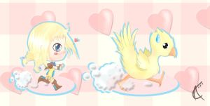 Penelo and Chocobo by Electroocute