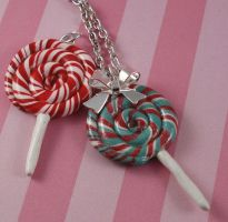 Christmas Lollipop Necklace by FatallyFeminine