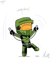 Master Chief playing Wii by Saxche