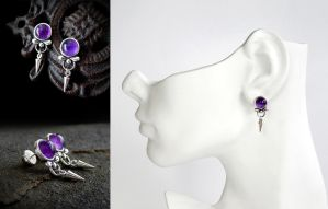 Amethyst Spike Earring by Gweyeni
