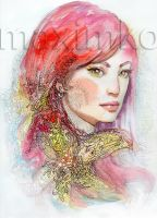Redhair Girl Portrait Watercolor by Maximko