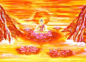Reflections of a Buddha on the Lotus Sea by Rika-Mystic-Artist