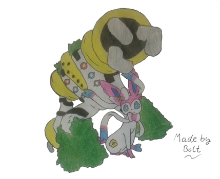 Regigigas with Sylveon -Buttershy- Draw by BoltMagie
