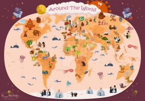 Around the World (Worldwide map for kids) by creaturedesign