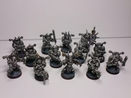 Chaos Space Marines Black/White the complete squad by McGoe