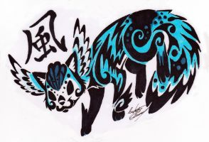 Furry fiesta commish: Tribal fakemon by Tatta-doodles