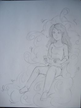 Reading on a cloud WIP by DemiAthena