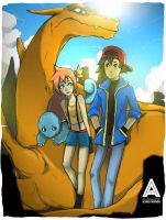 Pokemon - Ash x Misty x Charizard x Squirtle by faruuk-sama