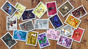 Antagonists Pony Stamps + Wallpaper by pims1978