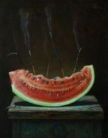Watermelon slice and incenses by marcheba