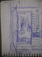 View from a Porch in Blue Ink by InsanePaintStripes