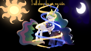 Luna and Celestia - Eternal love. wallpaper by Chromiapegasus