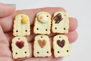 Toast Polymer Clay Charms by RawrRufus
