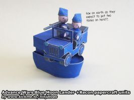 Papercraft Advance Wars Lander boat + Recon jeep by ninjatoespapercraft