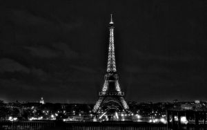 Paris 2560 Eiffel tower BW by tezdesign