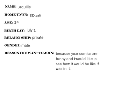 my reason to join jake's comic by jaquille1