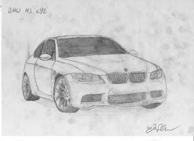 BMW M3 e92 drawing by Jannomag