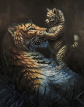 Wolf Cub and Tiger Mom by hibbary