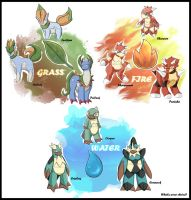 Nu Pokemon Starters by Articu