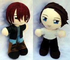 Art Trade!! Mini Plushies Kyle and Brian by LadyoftheSeireitei