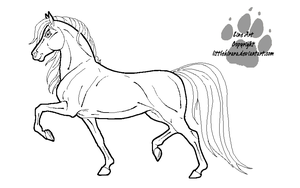 Saddlebred Mare Line Art by LittleKirara