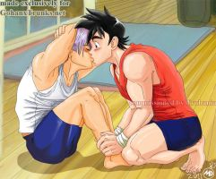 Gohan and Trunks sit-up kiss by massive-destruction