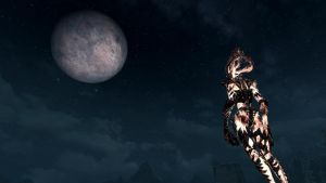 Flame Atronach watching the moon by NDC880117