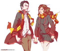 Hermione and Harry by mertakbal94