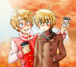 USUK: Autumn Walk by black-feather1013