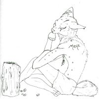 Line art Maned wolf by forgetSanity