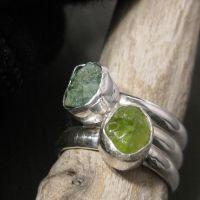 Moss and tree stacking rings by Jealousydesign