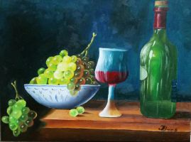 Wine Bottle and Grapes by DivinoArtista