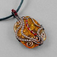 Red Glass, Faux Amber and Copper Necklace by sylva