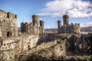 Conwy Castle, Wales, view from the battlements by aglezerman
