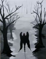 Mothman painting by AmandaPainter87