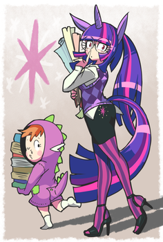 Humanized twilighit and spike doodles. by Gashi-gashi