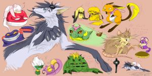 all my pokemon_doodles by blackwinged-neotu